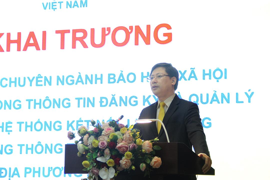 Tổng giám đốc Tổng công ty Bưu điện Việt Nam Chu Quang Hào phát biểu tại buổi lễ